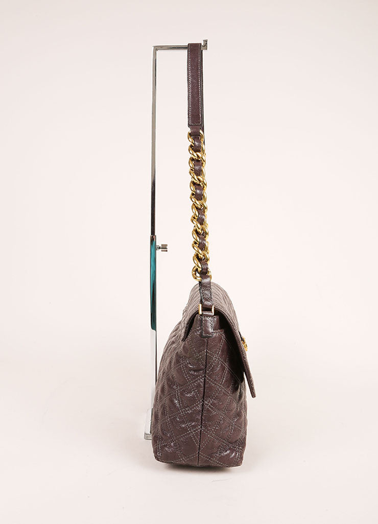 "Marc Jacobs Grey and Gold Toned Quilted Leather Chain Strap ""The XL Single"" Bag Sideview"