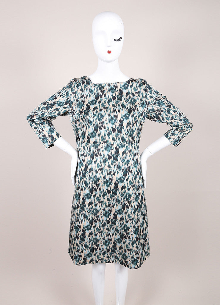 Marc Jacobs New With Tags Green and Multicolor Wool and Silk Printed Crop Sleeve Dress Frontview
