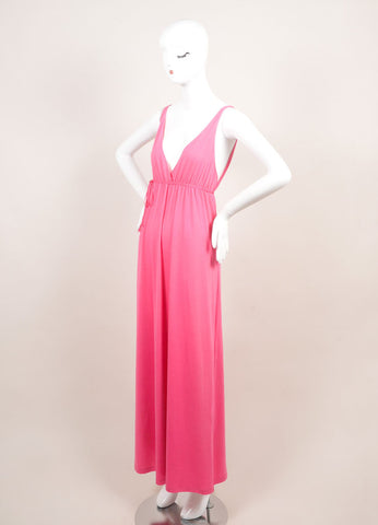 "Miguelina New With Tags Pink ""Elisa"" V-Neck Jersey Maxi Dress Sideview"