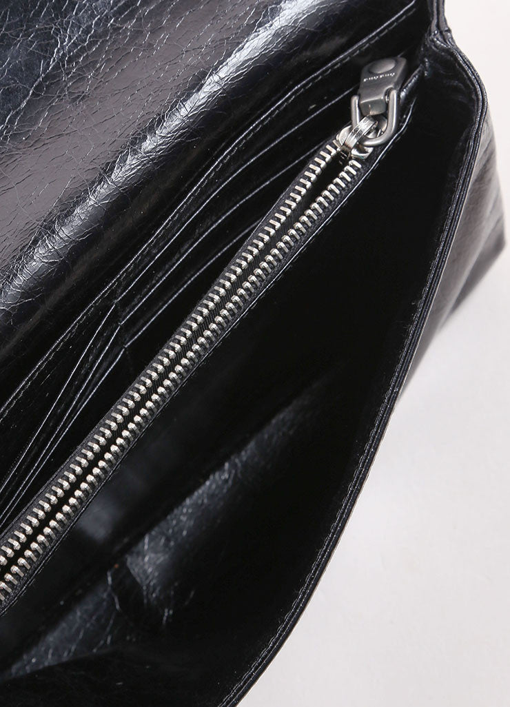 "Miu Miu Black Crackle Leather Jewel ""Shine Cristal"" Flap Wallet Interior"
