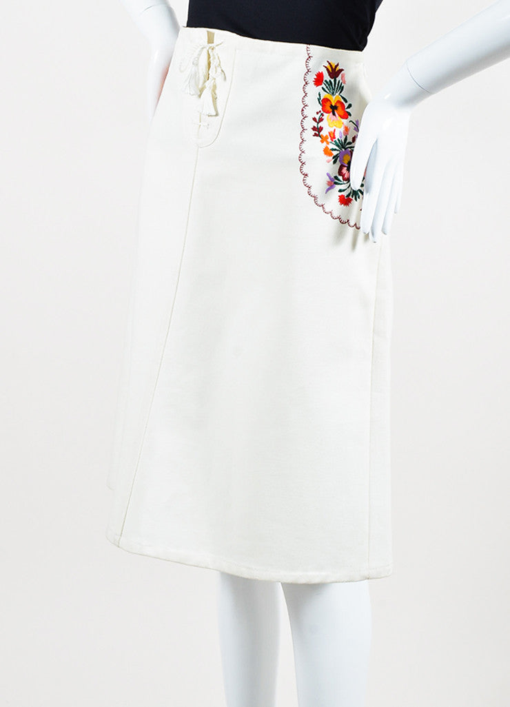 Miu Miu Cream and Multicolor Floral Embroidered Lace Up Midi Skirt Sideview