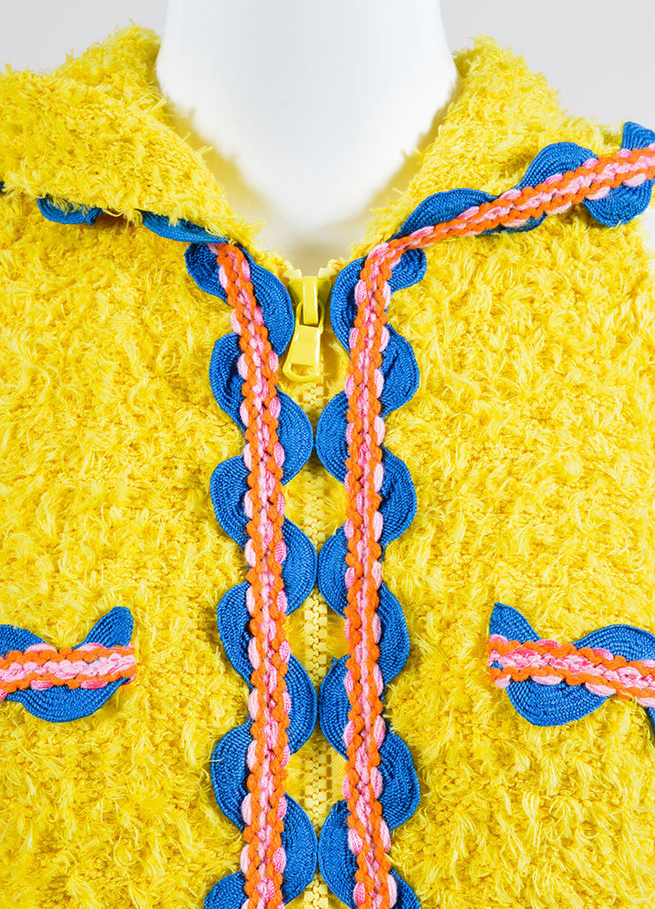 Yellow and Multicolor Moschino Couture! Hooded Ribbon Wave Trim Zip Dress Detail
