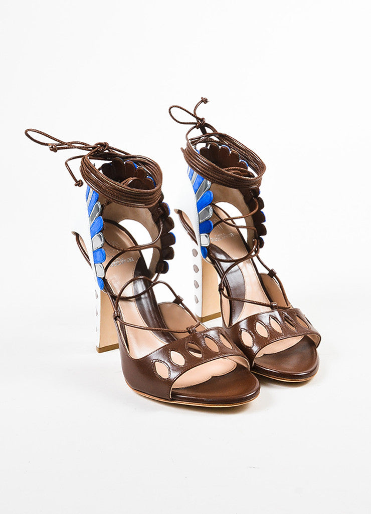 "Paula Cademartori  Brown and White Leather Suede ""Lotus"" Sandals Frontview"