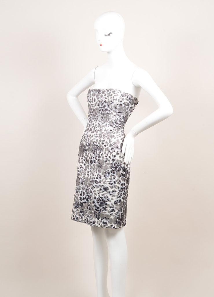Peter Soronen Grey, Metallic Silver, and White Floral Brocade Strapless Dress Sideview