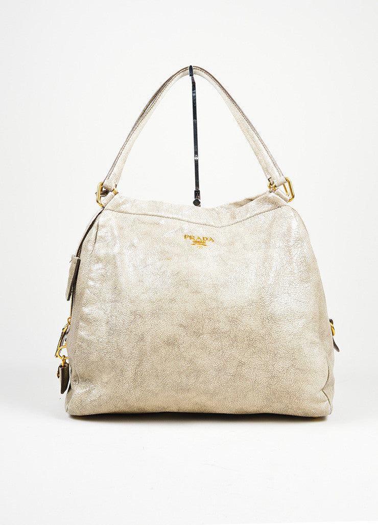 """Craquele"" Gray Prada Distressed Goatskin Leather Hobo Tote Bag Frontview"