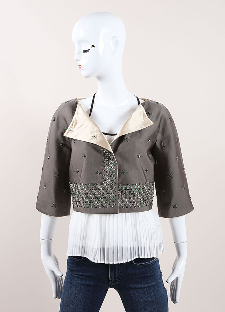 Prada Grey and Green Wool and Silk Floral Beaded Rhinestone Jacket Frontview
