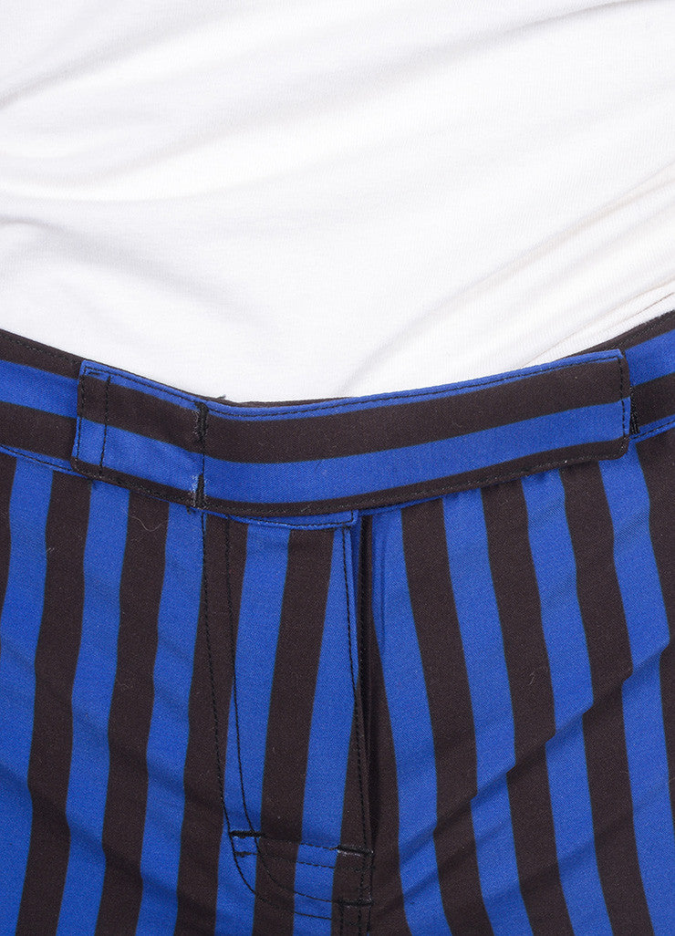 Pret a Surf New With Tags Blue and Black Stripe Velcro Front Swim Boy Shorts Detail