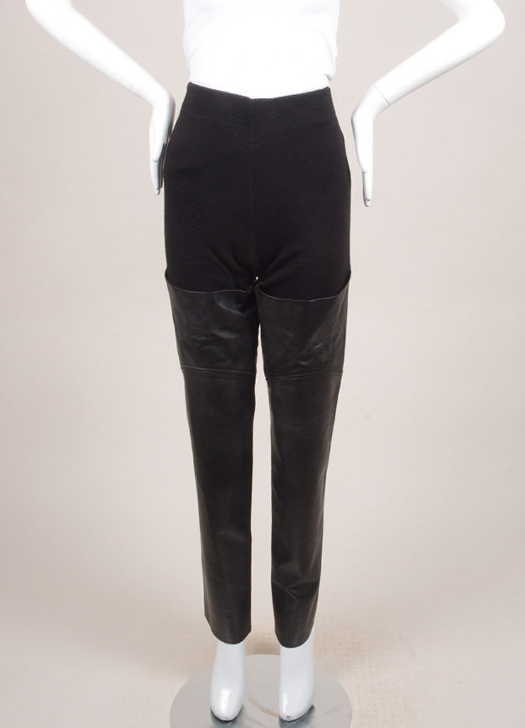 Raquel Allegra New With Tags Black Cotton and Leather Ribbed Knit Leggings Frontview