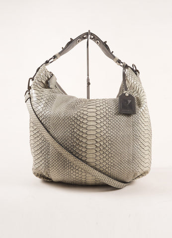 Reed Krakoff Grey Snakeskin Hobo Bag Frontview