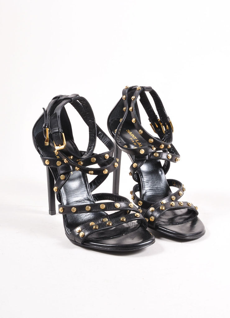 Saint Laurent Black and Gold Studded Leather Strappy Sandals Frontview