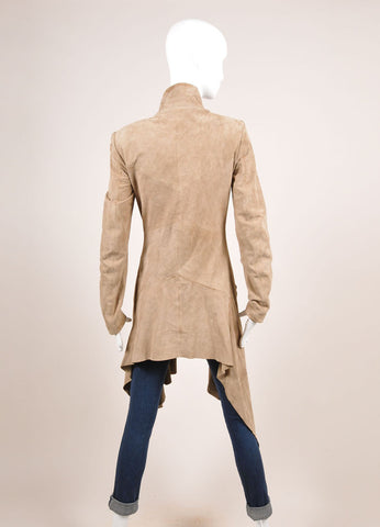 Sass & Bide Tan Suede Leather Draped Waterfall Lapel Long Sleeve Coat Backview