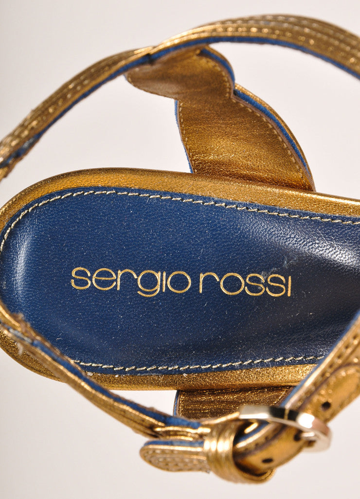 Sergio Rossi New In Box Blue and Bronze Suede Leather T-Strap Platform Pumps Brand