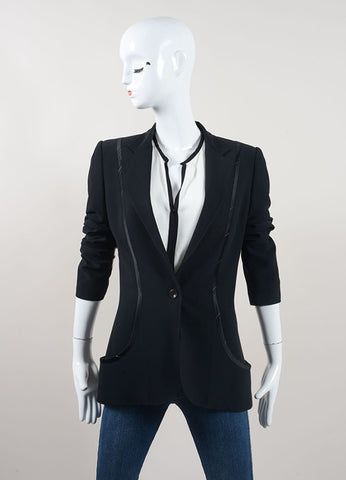 Stella McCartney Black Silk Trimmed Blazer Jacket Frontview