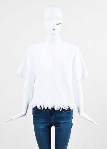 T by Alexander Wang White Woven Cotton Fringe Edge Zip Back Short Sleeve Top Frontview