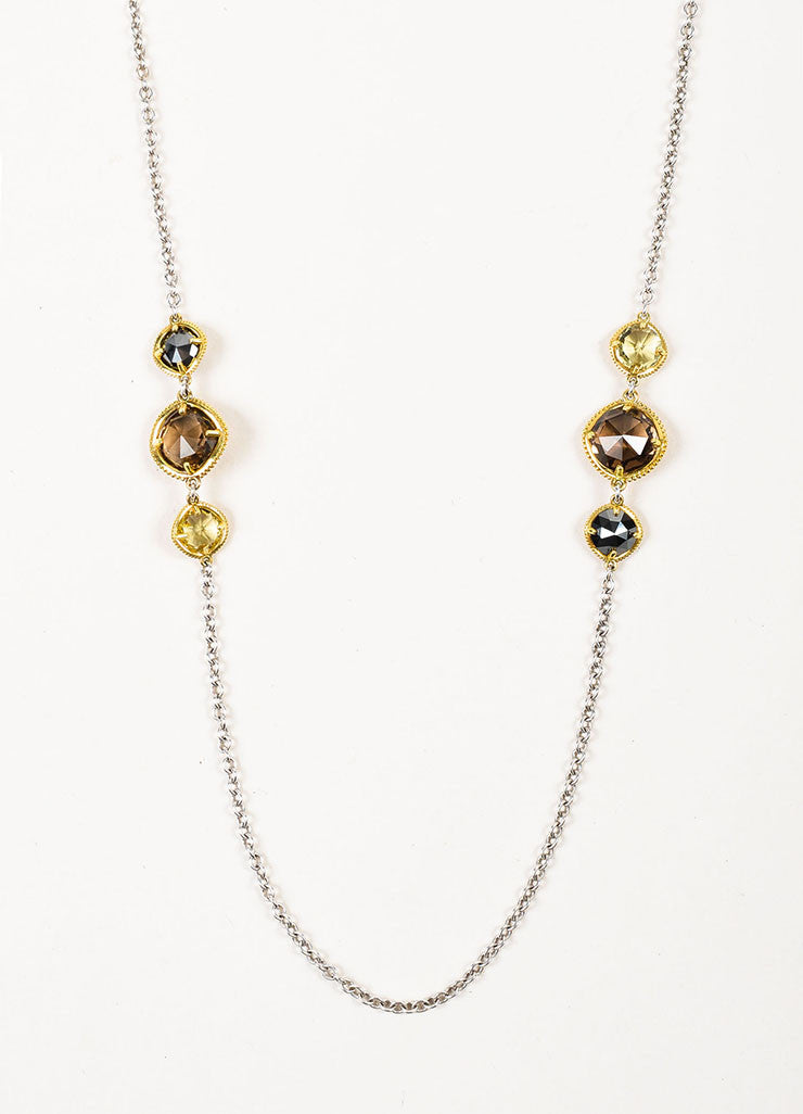 Tacori Sterling Silver, 18K Gold, Quartz, and Hematite Midnight Sun Necklace Detail