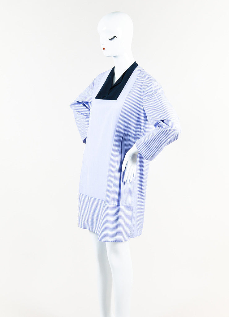 The Row Blue and White Cotton Striped Cropped Sleeve Tunic Shirt Dress Sideview
