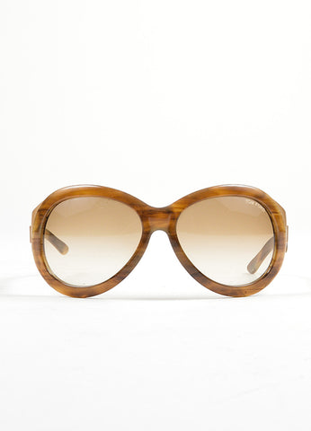 "Tom Ford Brown and Gold Toned Resin ""Elisabeth"" Oversized Sunglasses Frontview"