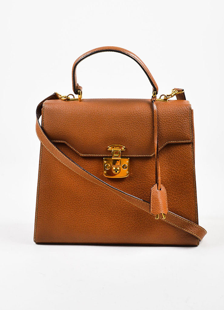 Gucci Tan and Gold Toned Textured Leather Pushlock Top Handle Trapezoidal Bag Frontview