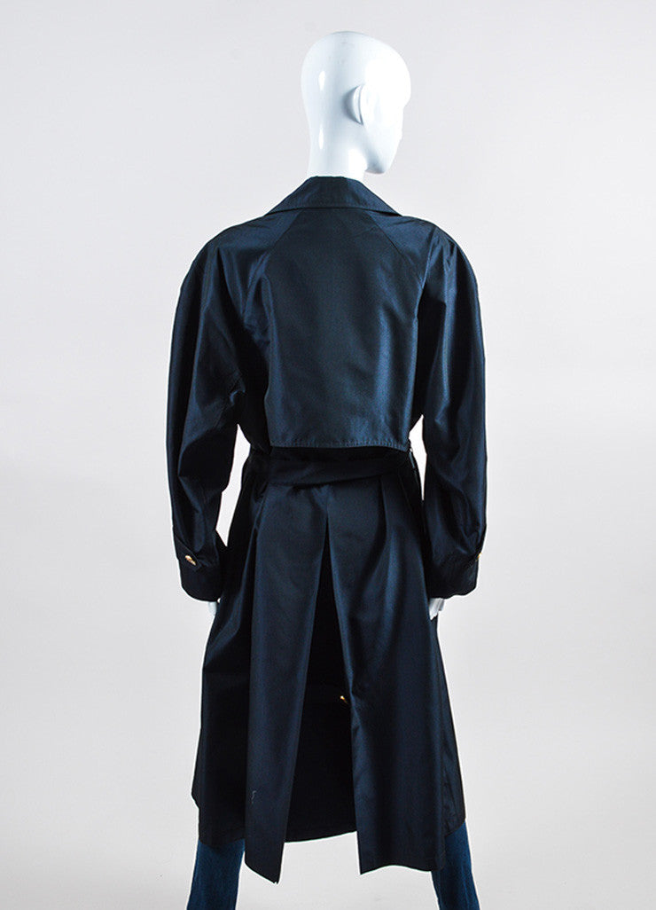 Navy Hermes Silk Logo Button Double Breasted Belted Trench Coat Backview