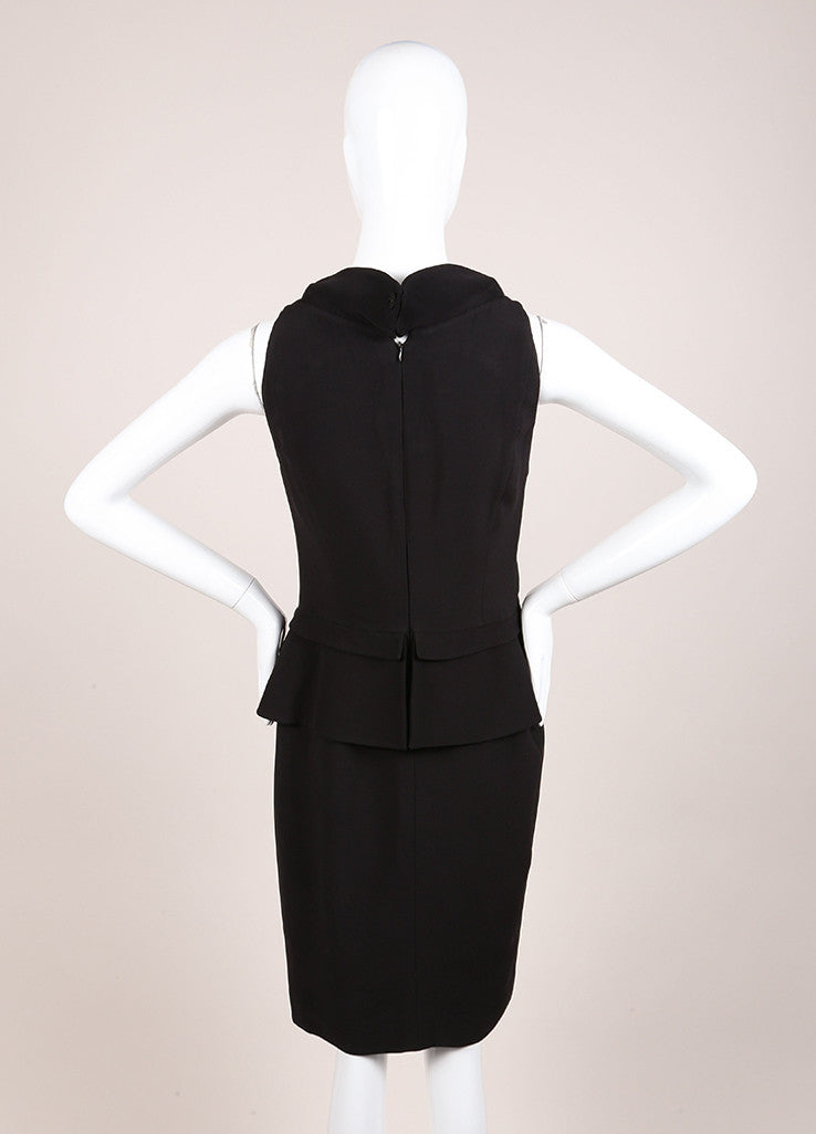 Karl Lagerfeld Black Peplum Sleeveless Dress Backview