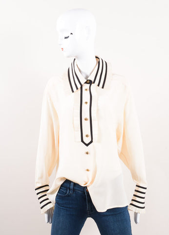 Karl Lagerfeld Cream and Black Ruffle Trim Button Down Long Sleeve Blouse Frontview