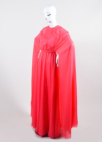Coral Pink Valentino Silk Chiffon Cape Gown Sideview