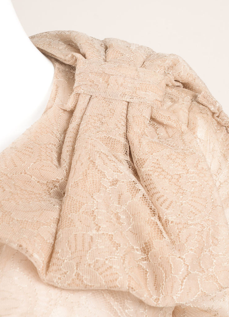 Valentino Taupe Laced Ruched Bow Embellished Zip Jacket Detail