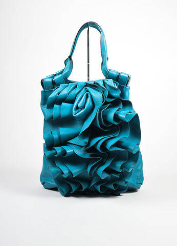 "Turquoise Leather Valentino ""Rose Vertigo"" Hobo Bag Frontview"