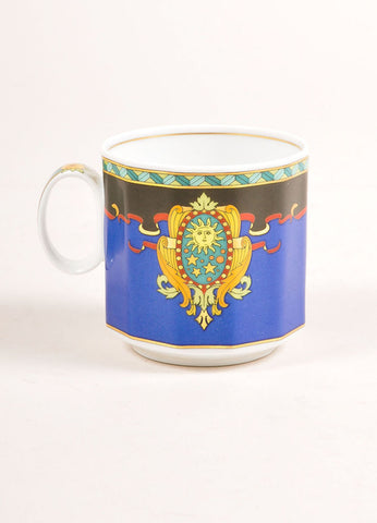 "Versace Rosenthal Multicolor Sun Scroll Print "" Le Roi Soleil"" Small Coffee Cup Frontview"