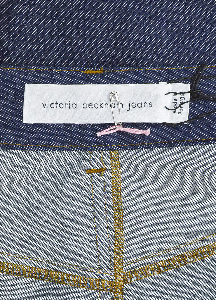 Victoria Beckham Jeans Dark Blue Denim Slit Midi Pencil Skirt Brand