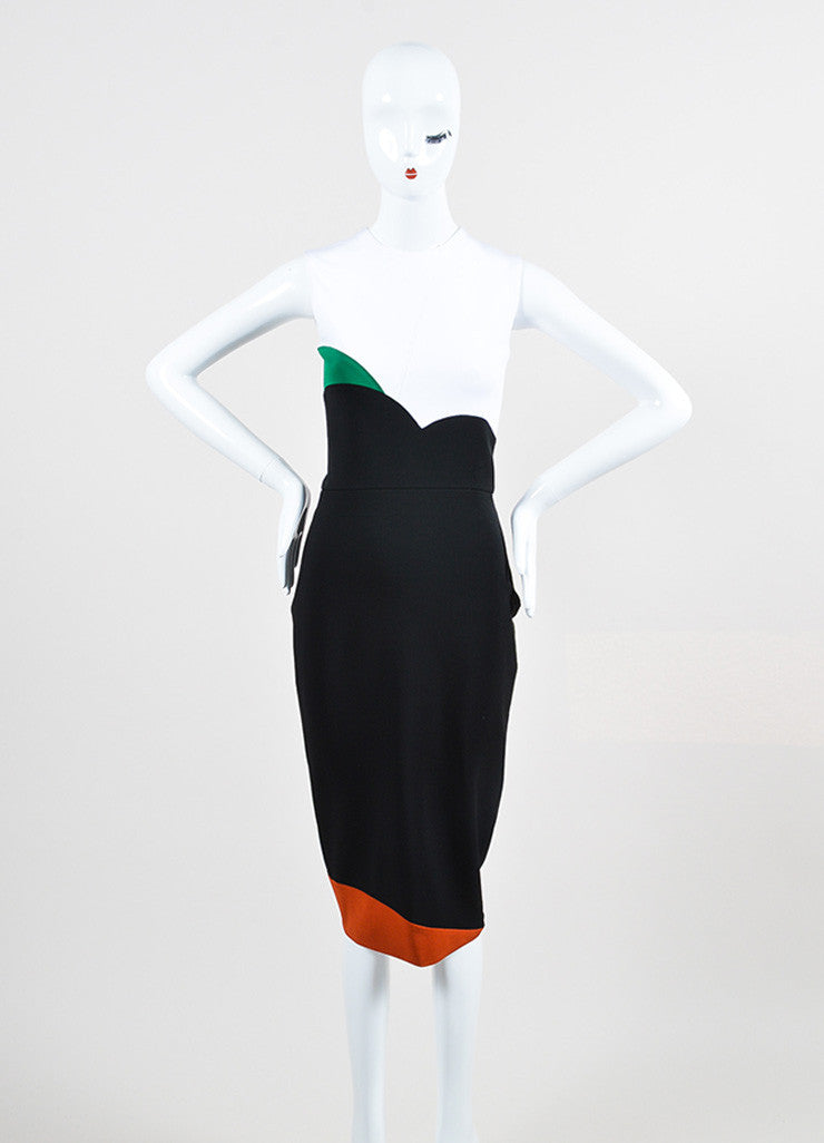 "Black White Victoria Beckham ""Denise Rib"" SL Dress Front"
