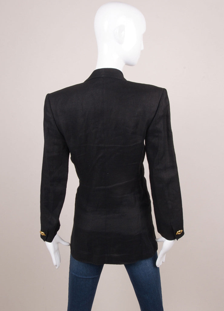 Black Genny Linen Blazer With Large Gold Toned Buttons