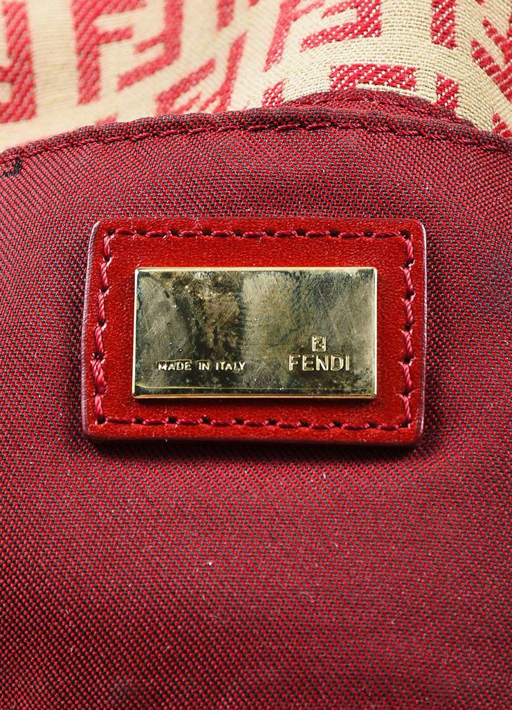 Fendi Red and Tan Monogram Canvas and Leather 'FF' Top Flap Small Shoulder Bag Brand