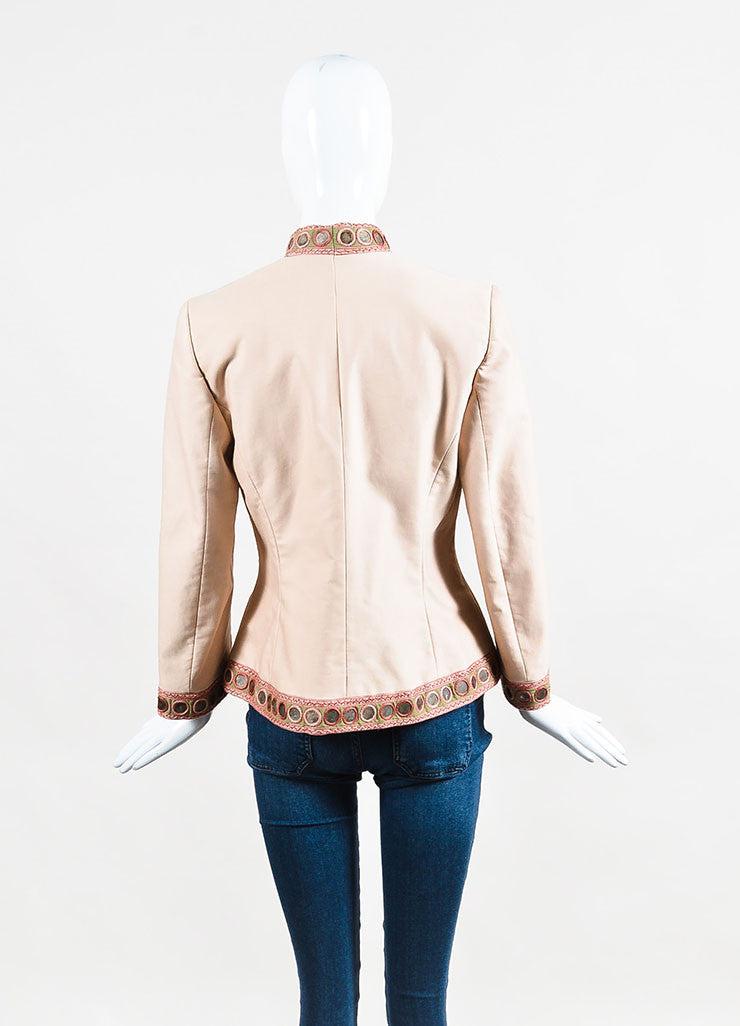 Alexander McQueen Beige, Blush, and Green Cotton Blend Embellished Jacket Backview