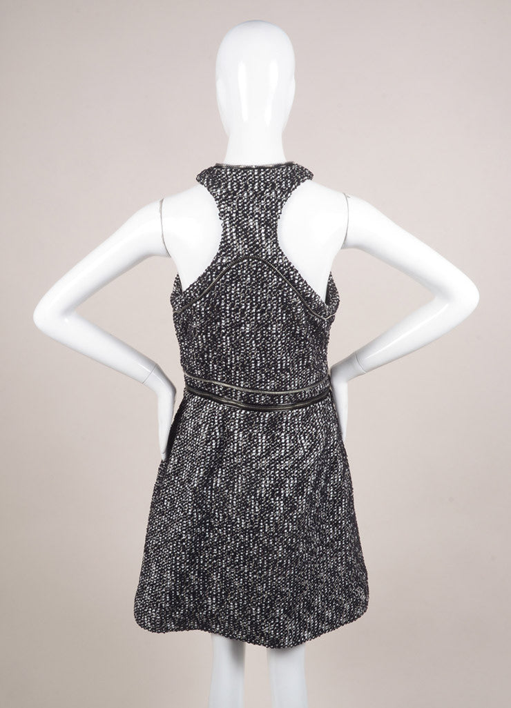 Alexander McQueen Black and White Cotton Tweed Zipper Racer Back Dress Backview