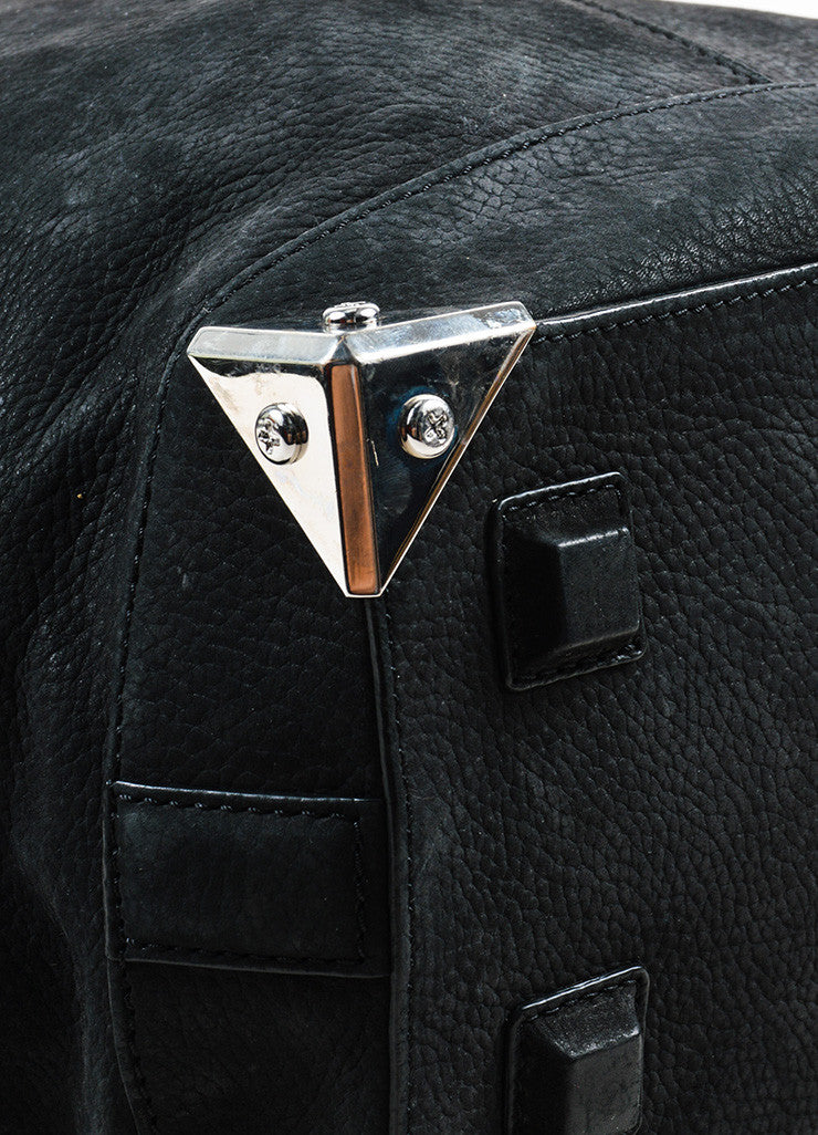 "Alexander Wang Black and Silver Toned Nubuck Leather Metal ""Large Emile"" Satchel Bag Detail"