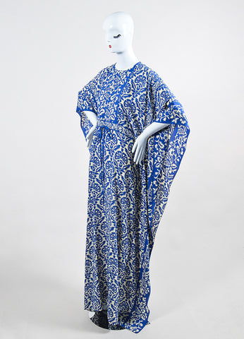 Blue and Cream Andrew Gn Silk Floral Drawstring Maxi Caftan Dress Sideview