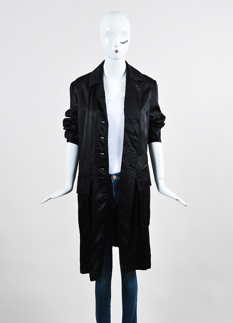 Ann Demeulemeester Black Sateen Cargo Pocket Long Coat Frontview