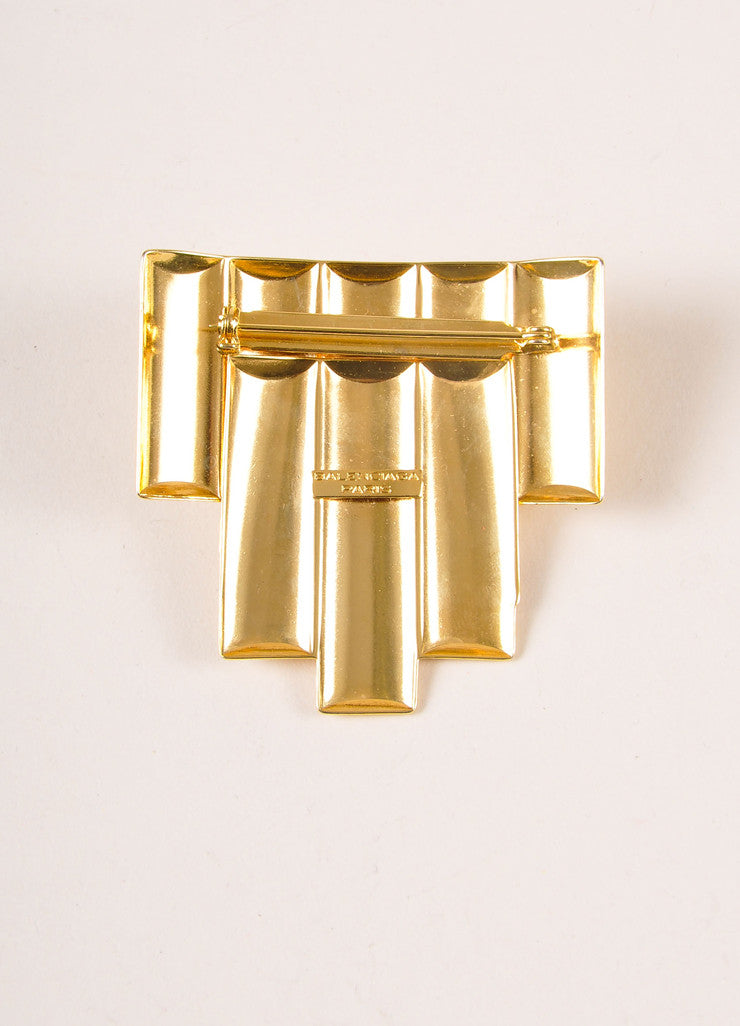 Balenciaga Gold Toned and Blue Glass Geometric Deco Pin Brooch Backview