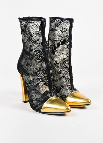 Balmain Black Metallic Gold Lace Leather Cap Toe Chunky Heel Booties  Frontview