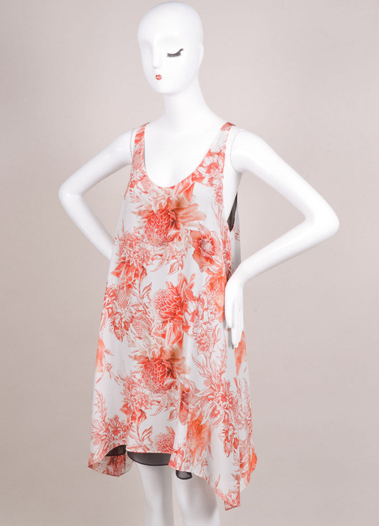 "Barbara Bui New With Tags White and Red Silk ""Toile"" Floral Print Dress Sideview"