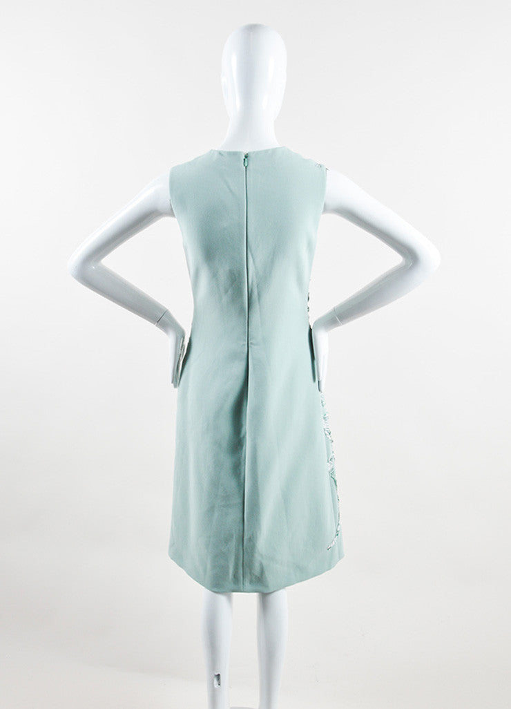 Bottega Veneta  Light Green and White Silk Pattern Sleeveless Sheath Dress Backview