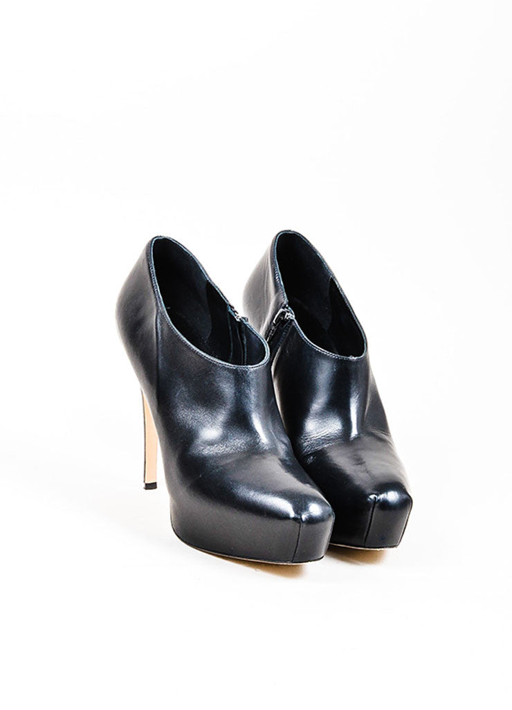 "Black Brian Atwood Leather Hidden Platform ""Cohen"" Ankle Booties Frontview"