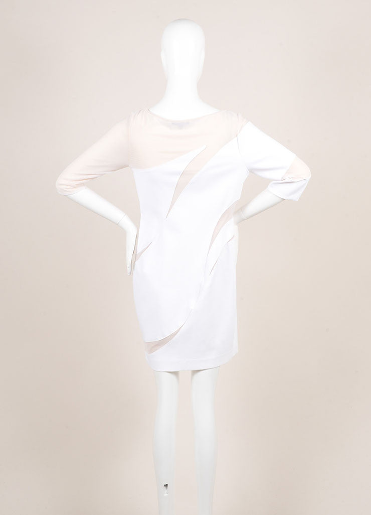 Catherine Malandrino White and Nude Cotton Mesh Cut Out Zip Dress Backview