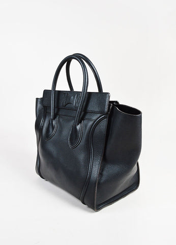 "Celine Black Leather Winged ""Mini Luggage Tote"" Bag Sideview"