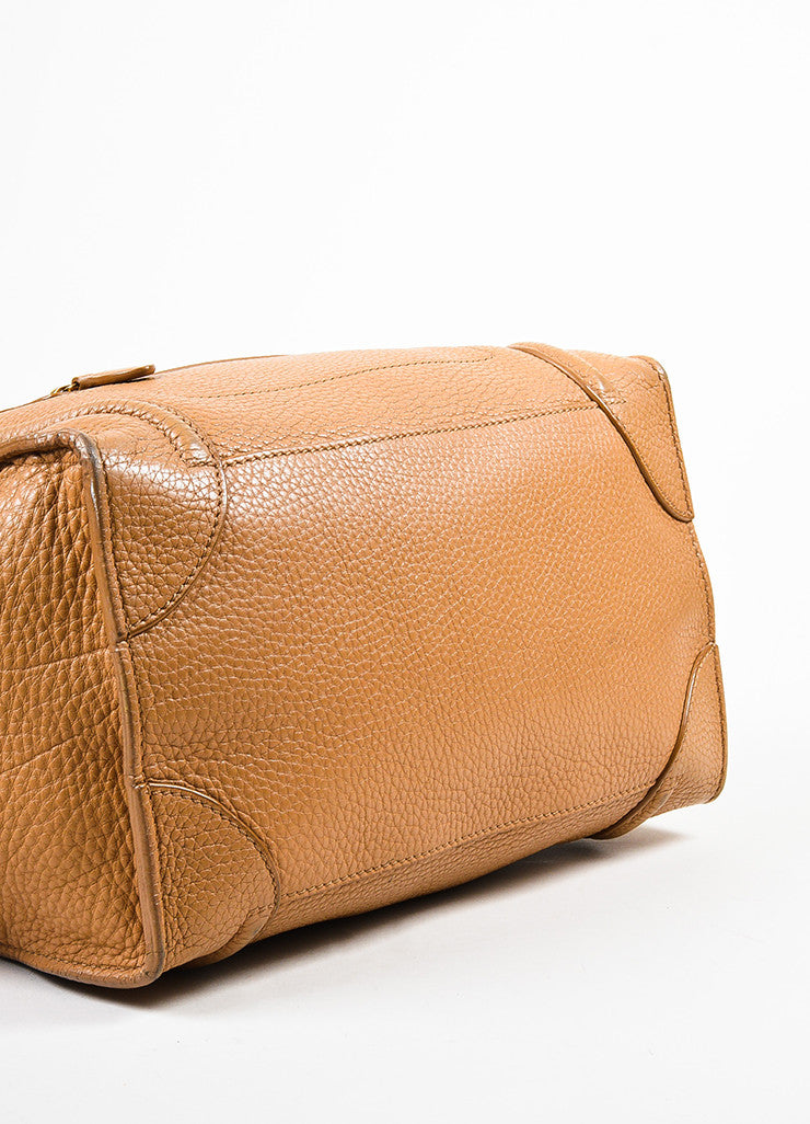 "Celine Brown Pebbled Leather ""Mini Luggage Shoulder Tote"" Bag Bottom view"