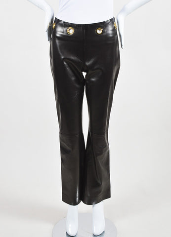 Celine Brown Leather Gold Toned Metal Large Grommet Straight Leg Pants Frontview