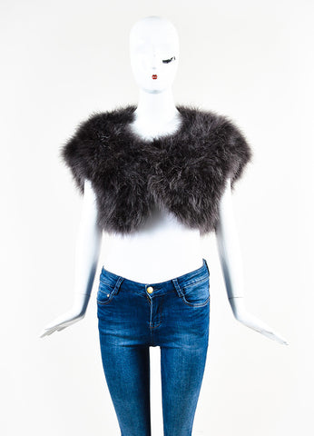 Celine Grey Feather and Silk Cap Sleeve Evening Shrug Frontview 2