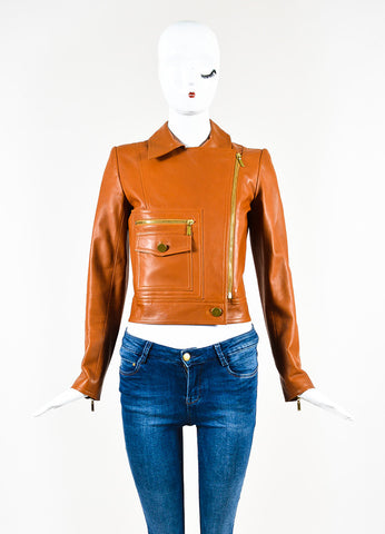 Chanel Brown Leather Asymmetrical Pocket Zip Moto Jacket Frontview 2