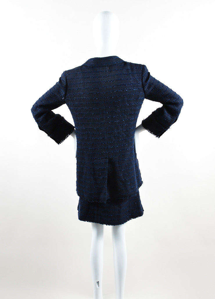Chanel Navy Cotton and Linen Tweed Faux Pearl Button Skirt Suit Backview